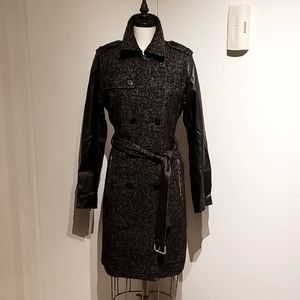 Michael Kors tweed and leather trench